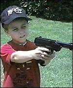 [ image: Many children grow up with handguns]