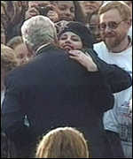 [ image: Monica Lewinsky hugs Bill Clinton after the 1996 presidential campaign]