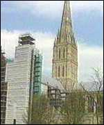 [ image: Repair work is already underway at Salisbury Cathedral]