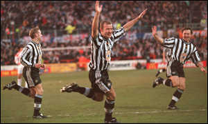 image: [ Alan Shearer marks his return with a header in the first game against Stevenage ]