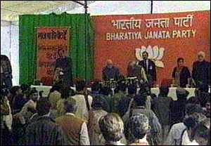 image: [ The BJP unveils its election promises in Delhi ]