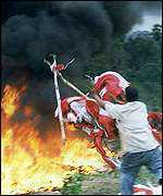 [ image: Burning the Indonesian flag - the separatist movement is increasingly assertive]