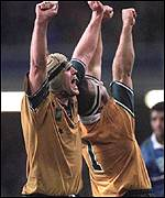 [ image: Front rowers David Giffin and Richard Harry show their delight]