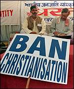 [ image: Hindu protesters object to the Pope's visit]