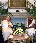 [ image: Mr Vajpayee reassured the pontiff over anti-Christian violence]