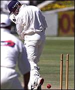 [ image: Butcher's left stump goes for 0]