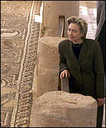 [ image: The First Lady views a mosaic in Petra]