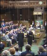 [ image: The Black Rod ceremony in the Commons]