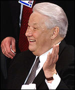 [ image: Boris Yeltsin was in jovial mood before the opening of the summit]