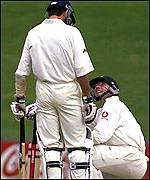 [ image: Atherton steadies the nerves of his younger partner]