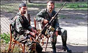 Chechen fighters