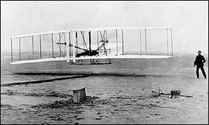 The Wright brothers take to the air