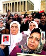 Mothers of soliders killed in the 15-year war march to the mausoleum of Turkey's founder Kemal Ataturk
