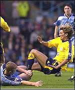Coventry's David Burrows floors Robbie Savage