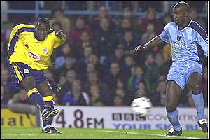 Emile Heskey beats Paul Williams with a fine strike to win the match
