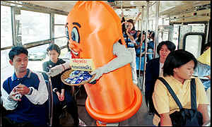 Tram passengers in Bangkok are offered free condoms