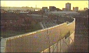 The peace line across part of Belfast