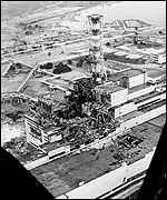 The ruined fourth reactor in 1986