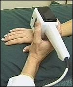 [ image: A vibrating probe used in the study which detects damage to nerves in the hand and arm]