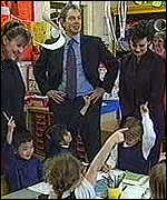 [ image: Tony Blair and his wife Cherie visit a school in east London]