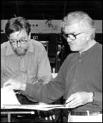 [ image: Andrew Davis and Anthony Payne discuss the score for Elgar's 3rd]