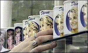 image: [ Merchandise in memory of Princess Diana is in huge demand ]