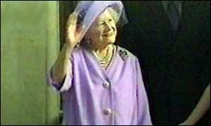 image: [ The Queen Mother emerged happy and smiling ]