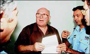 image: [ John Demjanjuk on his release from prison in Israel in 1993 ]