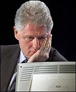 President Clinton using a computer