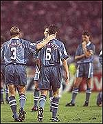 Stuart Pearce consoles Gareth Southgate at the 1996 Eurpean Championship semi-finals