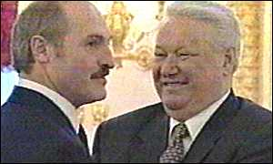 Alexander Lukashenko and Boris Yeltsin