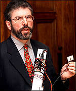 Gerry Adams with listening device