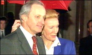 Neil and Christine Hamilton outside the High Court