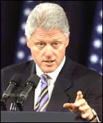 President Bill Clinton makes a televised speech