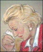 artists impression of Mrs Hamilton in court
