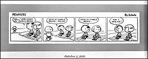 The first Peanuts strip