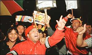 Chavez supporters celebrate victory