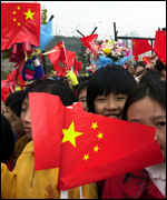 Flag-waving Chinese