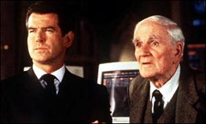 Pierce Brosnan with Desmond Llewelyn as Q