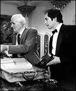 Desmond Llewelyn with Timothy Dalton