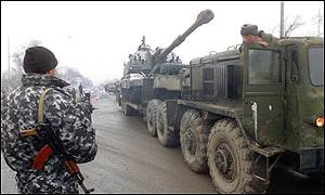 Columns of Russian armour on the move