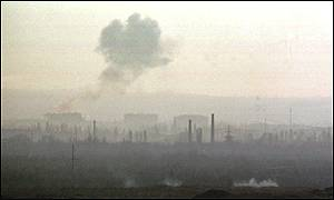 Smoke rises over northern outskirts of Grozny