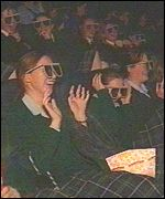School childern in the Dublin IMAX dodge 3D sharks