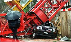 A crane destroyed a car during heavy storms in Zurich, Switzerland
