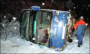 Spanish bus tips over in Austria