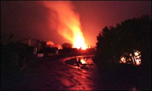 Serb homes on fire