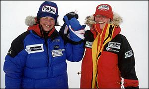 Fiona Thornewill and Catharine Hartley reached the South Pole in January 2000