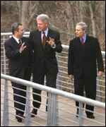 Barak, Clinton and Farouq al-Sharaa