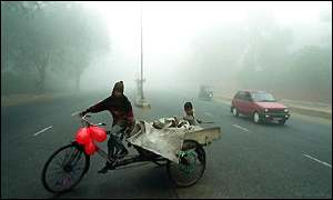 Dense fog in Delhi has led to flight delays and road accidents