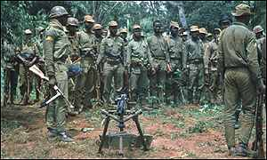 Biafran army in clearing